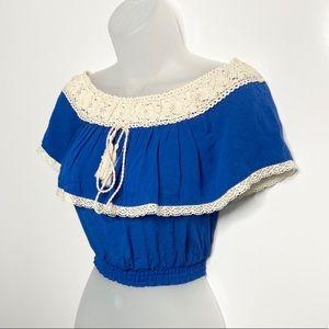 NWT Lace Ruffled Royal Blue Crop Top
